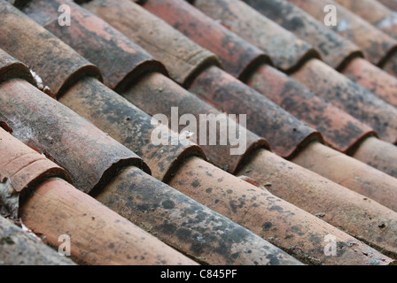 Old red and orange roof tiles - Stock Photo