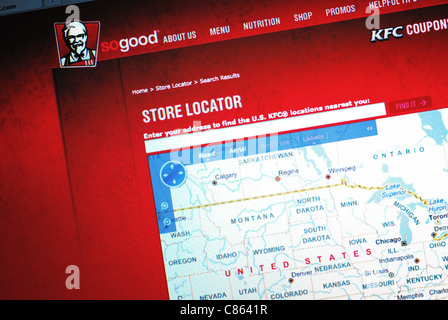 Store locator map on Kentucky Fried Chicken's website - Stock Photo