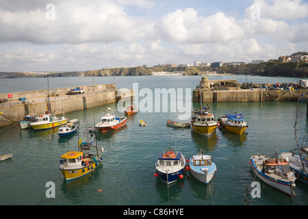 Newquay Cornwall England UK September Looking across fishing boats moored in harbour popular West Country seaside - Stock Photo