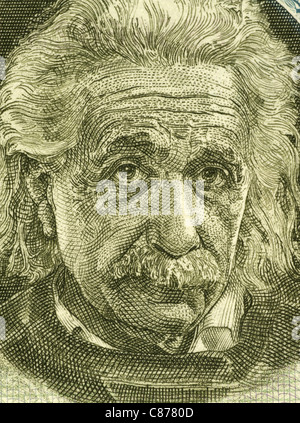 Albert Einstein (1879-1955) on 5 Pounds 1968 Banknote from Israel. German born theoretical physicist regarded as - Stock Photo