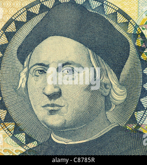 Christopher Columbus (1451-1506) on 1 Dollar 1992 Banknote from Bahamas. Italian explorer, colonizer and navigator. - Stockfoto