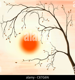 Illustration of a cherry tree with falling leaves in autumn sunset scenery against a red sun - Stock Photo