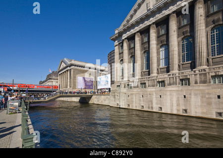 Pergamonmuseum and 'Bode-Museum' at 'Museum Island' with a local express train Berlin Germany Europe - Stock Photo