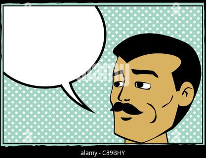 Pop art retro man with speech bubble, comics style graphic - Stock Photo