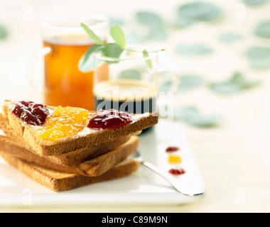 Toast and jam - Stock Photo
