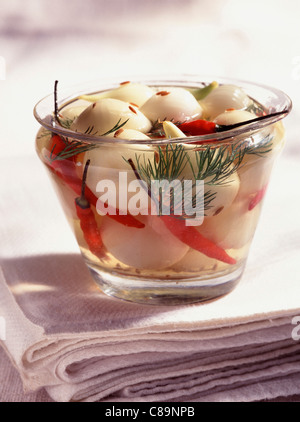 Pickled onions with chili peppers and dill - Stockfoto