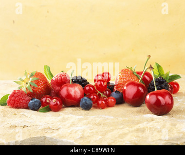 Selection of summer fruit - Stock Photo