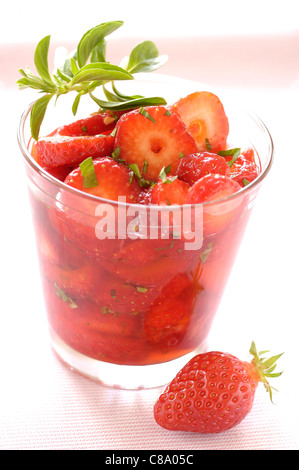Strawberry and mint soup - Stock Photo