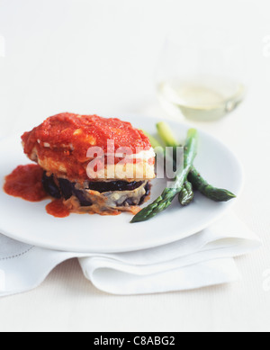 Fish,eggplant and tomato Mille-feuille - Stock Photo