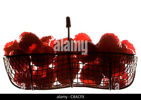 Basket of raspberries - Stock Photo
