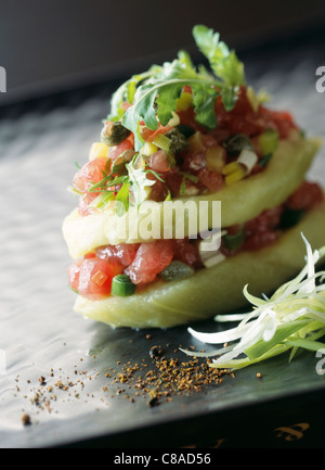 Eggplant and vegetable Mille-feuille - Stock Photo