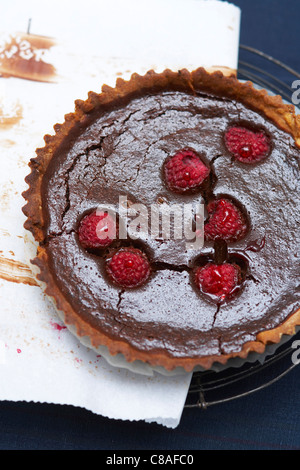 Chocolate and raspberry tart - Stock Photo