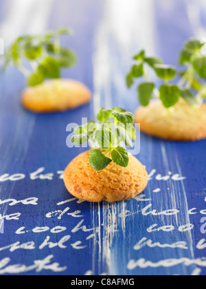 Shortbread cookies with lamb's lettuce sprouts - Stock Photo