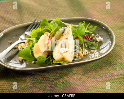 Lamb's lettuce,pear and blue cheese salad - Stock Photo