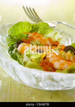 Shrimp,salmon roe and olive salad - Stock Photo