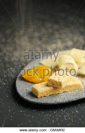 Shortbread biscuits,parmesan and jam - Stock Photo