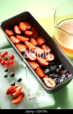 Placing the summer fruit in the terrine - Stock Photo