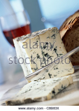 Bleu d'Auvergne blue cheese - Stock Photo
