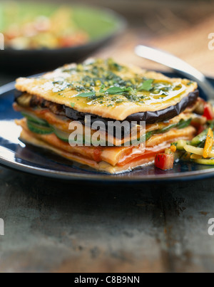 Salmon and grilled vegetable Mille-feuille - Stock Photo