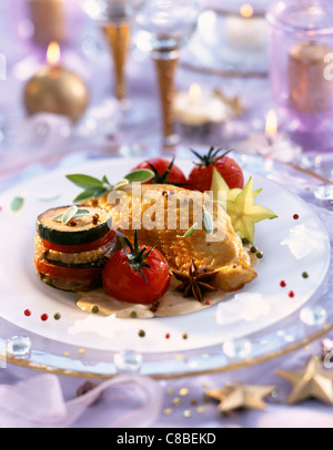 turkey and provençal vegetables - Stock Photo