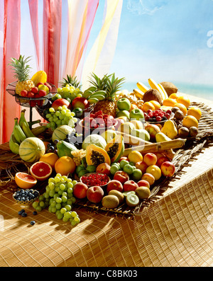Selection of exotic fruit - Stock Photo