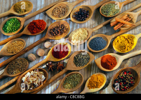 Seletion of spices in wooden spoons - Stock Photo