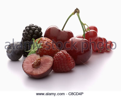 Composition with summer fruit - Stock Photo