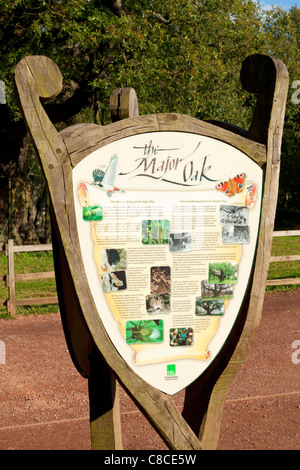 sherwood forest major oak information board Edwinstowe nottinghamshire England UK GB EU Europe - Stock Photo