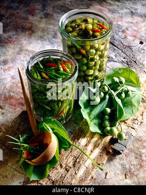 Tabasco peppers and aubergines pickled in vinegar - Stockfoto