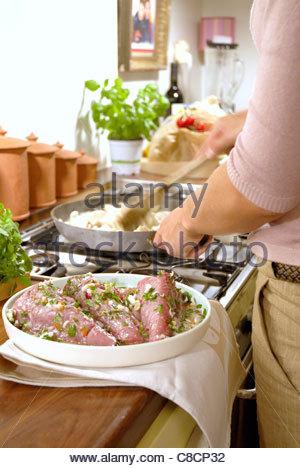Preparing marinated tuna - Stock Photo