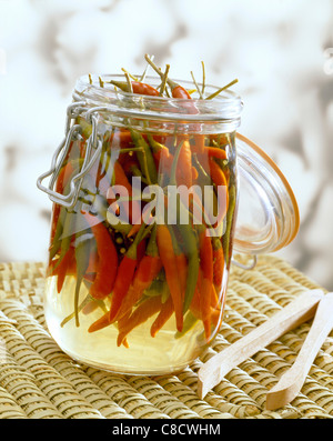 jar of hot green and yellow peppers in vinegar - Stock Photo