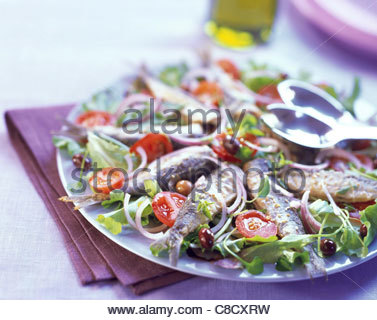 sardine, olive and tomato salad - Stock Photo