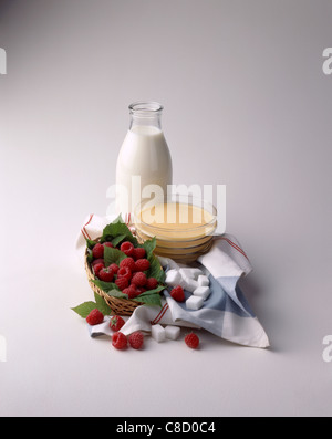 composition of fruit and dairy products - Stock Photo