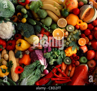 Composition of fruit and vegetables - Stock Photo