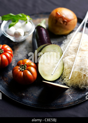 Ingredients for caramelized eggplant Mille-feuille - Stock Photo