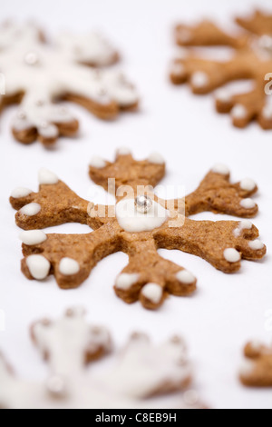 Snowflake-shaped shortbread cookies - Stock Photo