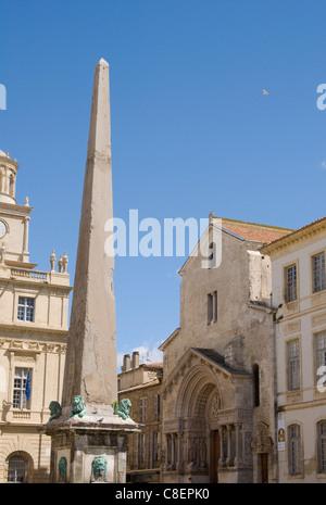Saint Trophime in the Place de la Republique in Arles, Bouches-du-Rhone, Provence, France - Stock Photo