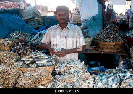 Dry fish for sale, Chalai Market, Trivandrum, Kerala, India - Stock Photo