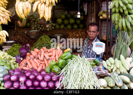 Vegetable market, Chalai, Trivandrum, Kerala, India - Stock Photo