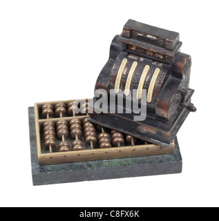 Tallying business income shown by an antique cash register on an abacus - path included - Stock Photo