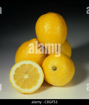 Whole and section group of citrus fruit lemon variety Fino - Stock Photo