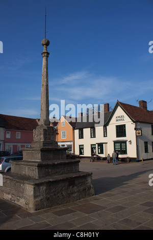 The old, historic Market Place at Lavenham in Suffolk - Stock Photo
