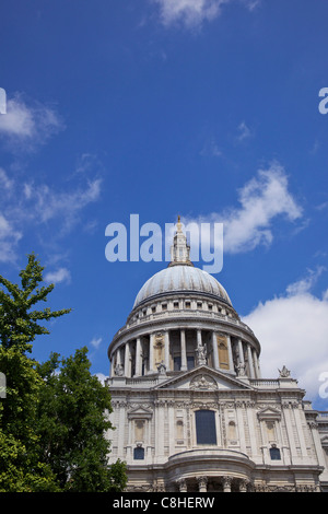 Dome of St Paul's Cathedral, City of London, England, UK, United Kingdom, GB, Great Britain, British Isles, Europe - Stock Photo