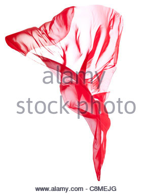 Red transparent flying veil isolated on white - Stock Photo