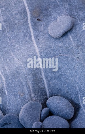 Limestone Pebbles, Mewslade Bay, Gower, Wales - Stock Photo