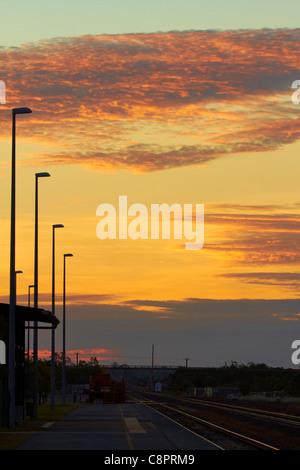 Katherine Railway Station at sunset, Northern Territory, Australia - Stock Photo