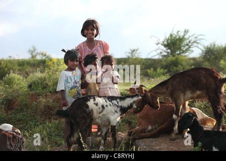 Lower caste family Andhra Pradesh South India - Stock Photo
