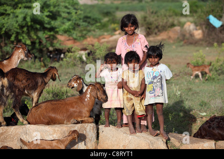 Lower caste family in Andhra Pradesh South India - Stock Photo