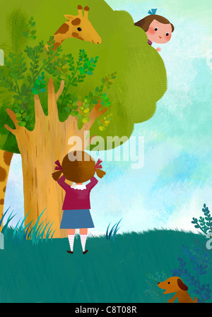 Girls Playing Hide And Seek - Stock Photo