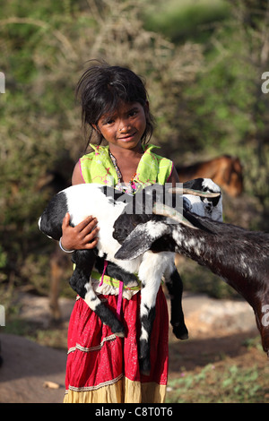 Lower caste girl Andhra Pradesh South India - Stock Photo
